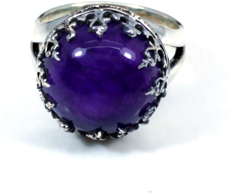 Ishu Gems Purple Amethyst Gemstone Ring, Solid 925 Sterling Silver Jewelry, Round Shape Stone Ring, Western Ring, Designer Setting Ring