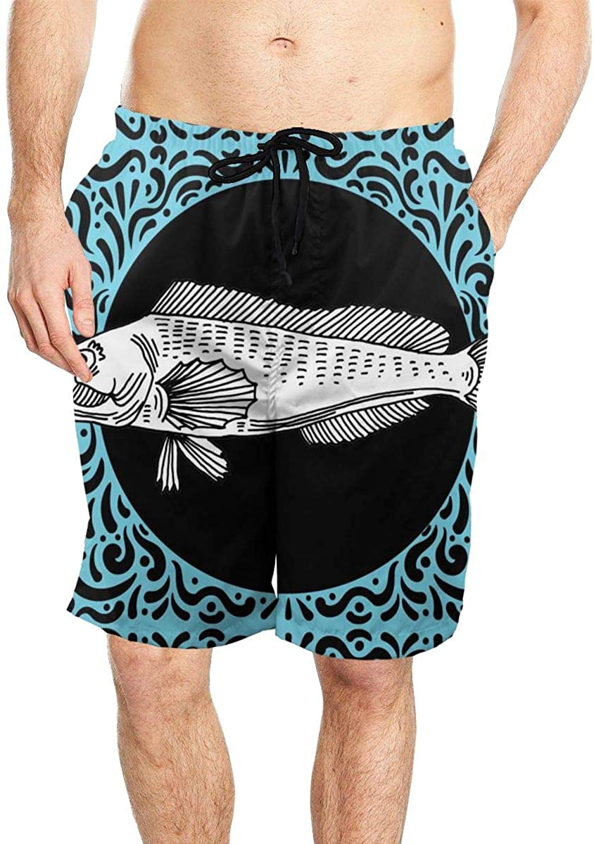 Ornate Fish Men's Seaside Beach Swim Trunks Quick-Drying Stretch Comfortable Shorts