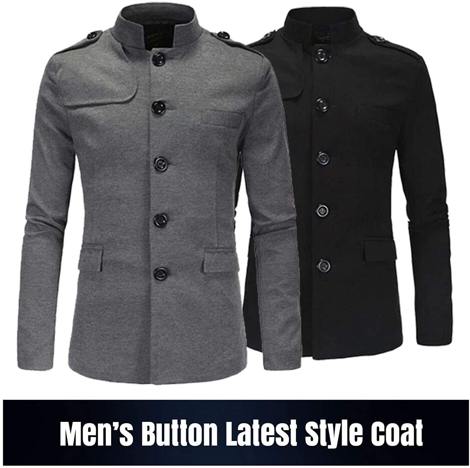 NM Fashions Men's Slim Fit Winter Warm Short Woolen Coat Business Jacket