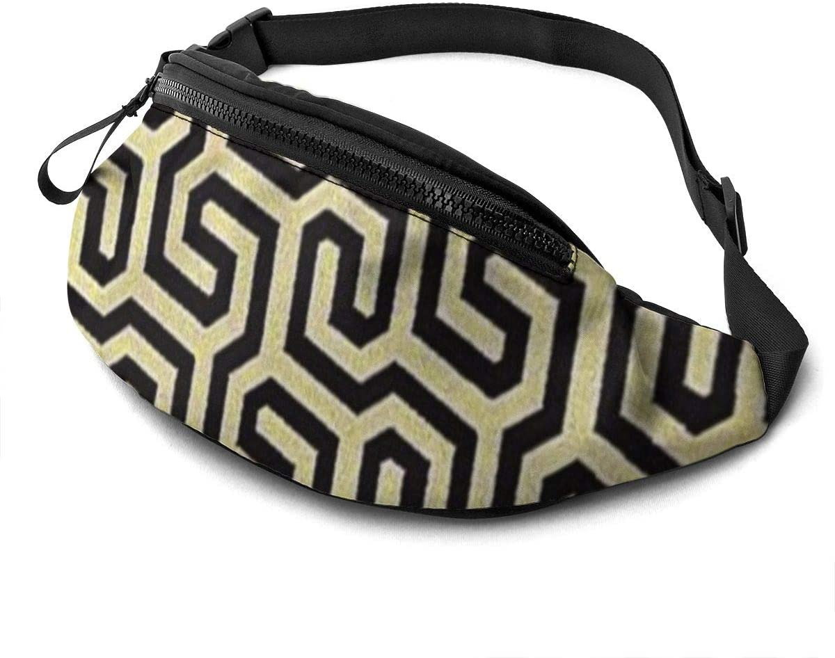 Classic Brown Maze Fanny Pack For Men Women Waist Pack Bag With Headphone Jack And Zipper Pockets Adjustable Straps