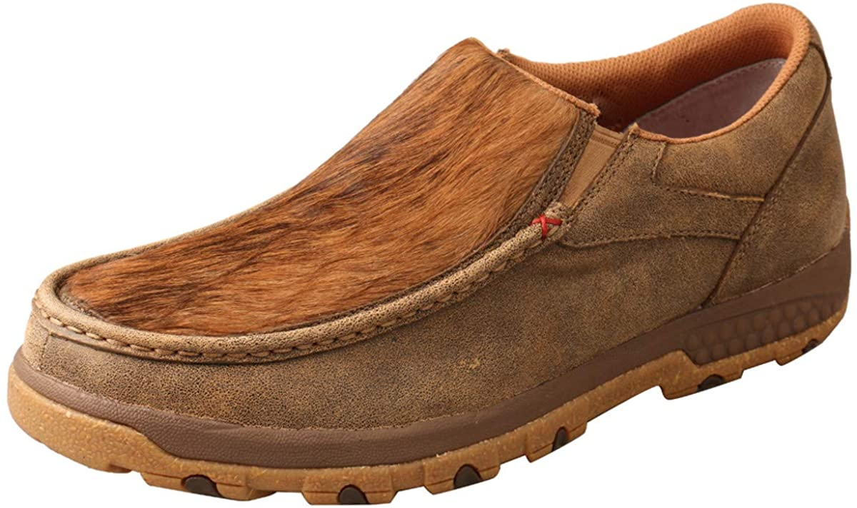 Twisted X Men's CellStretch D Toe Driving Mocs Casual Slip-On Shoes - Bomber, Brindle, 7.5 M