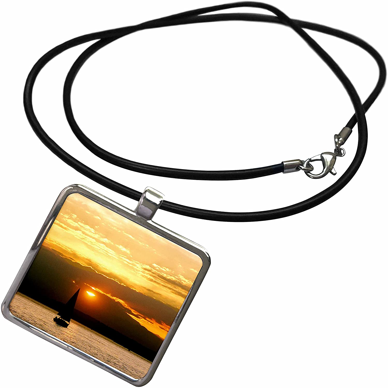 3dRose Danita Delimont - Sailing - Sailing into Setting Sun on Seattles Elliot Bay - US48 RDU0056 - Richard Duval - Necklace with Rectangle Pendant (ncl_96592)
