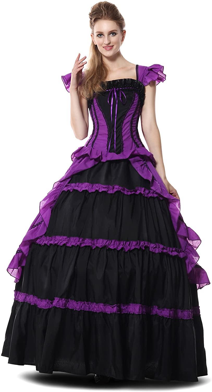 Sexy4Lady Women's Victorian Lolita Princess Dress Short Sleeves Ruffles Costumes