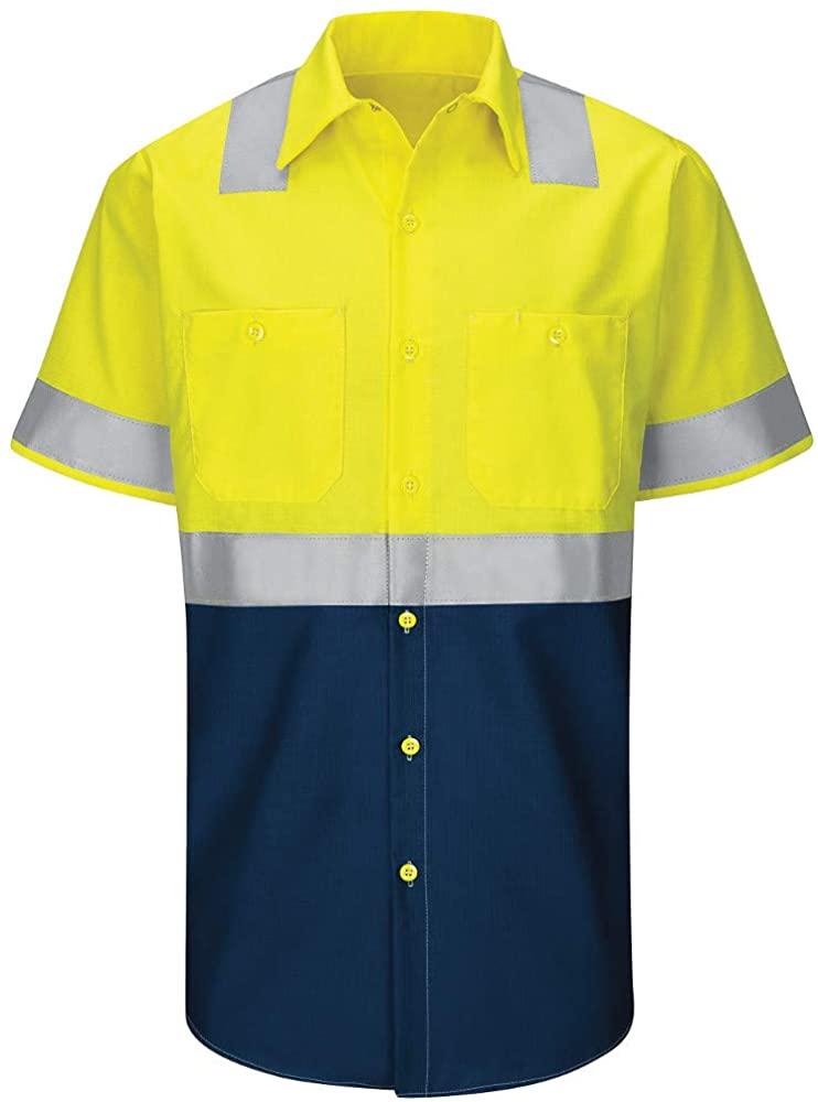 Red Kap Mens Hi-vis Ss Colorblock Ripstop Work Shirt-Type R, Class 2