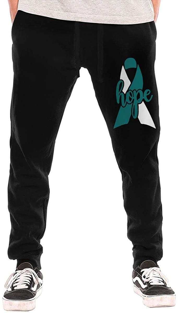 JohnKi10 Hope Cervical Cancer Awareness Ribbon Men Sweatpants Jogger Pant Outdoor Exercising Gym Long Sport Pant