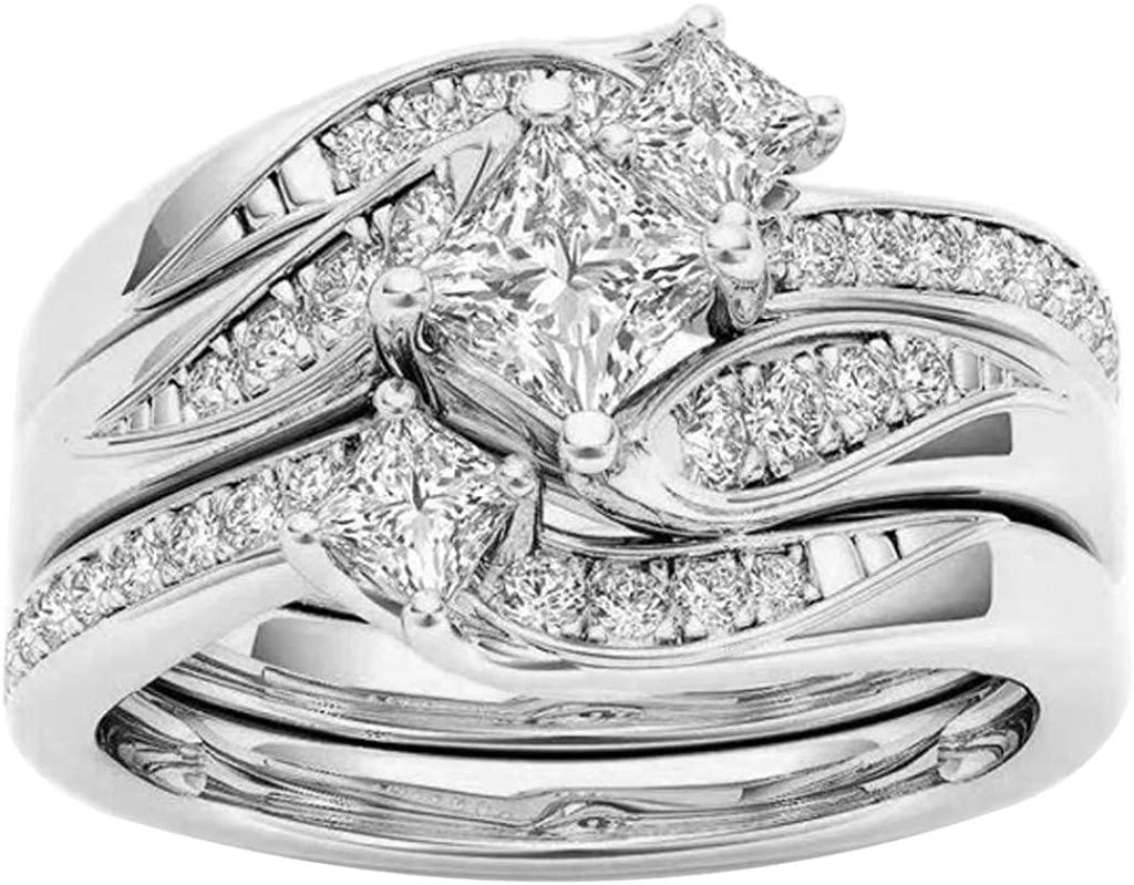 Wedding Banding Ring Round Cubic Zirconia 3 in 1 Stacking Ring for Women Girls