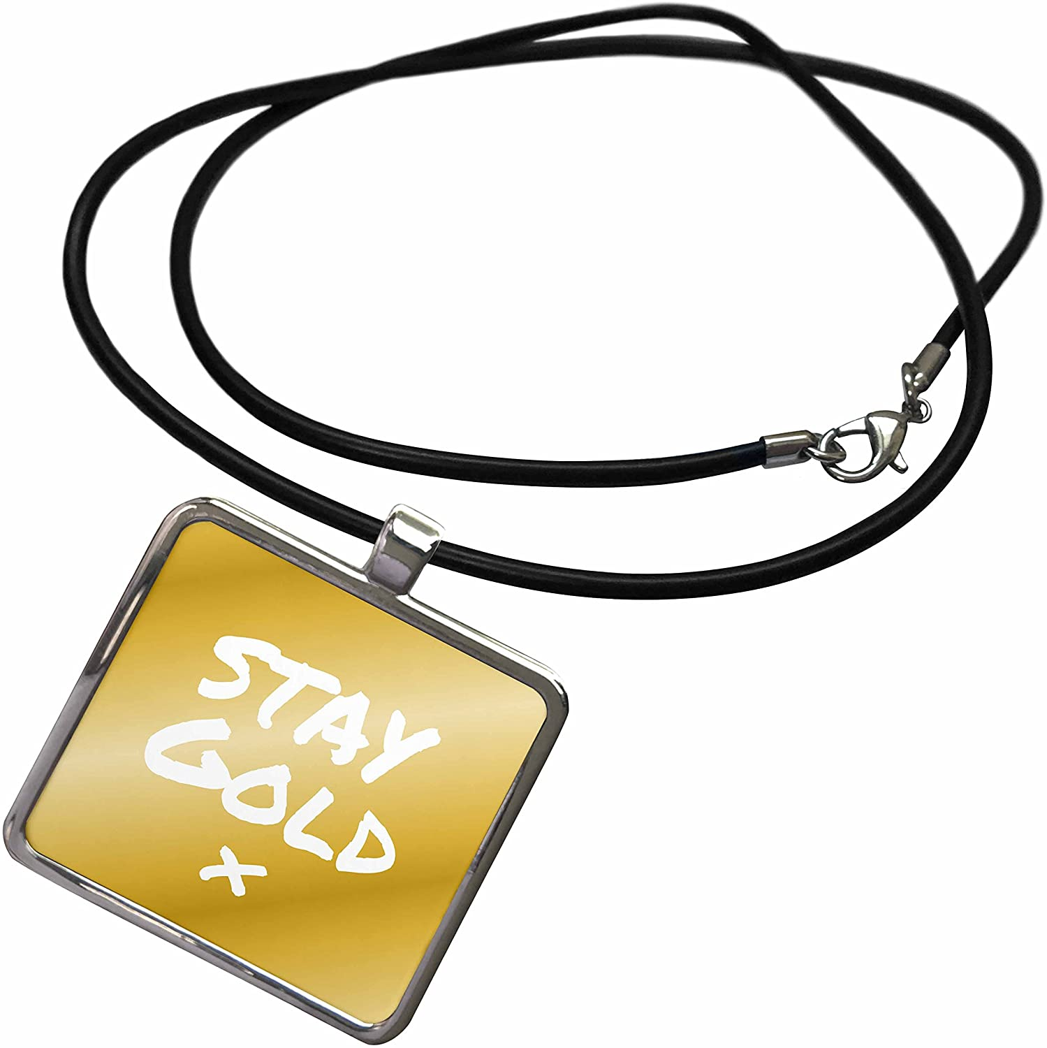 3dRose InspirationzStore Feel Good Compliments - Stay Gold Quote on Matte tan-Gold-Like Color - be True to Yourself - Necklace with Rectangle Pendant (ncl_195641)