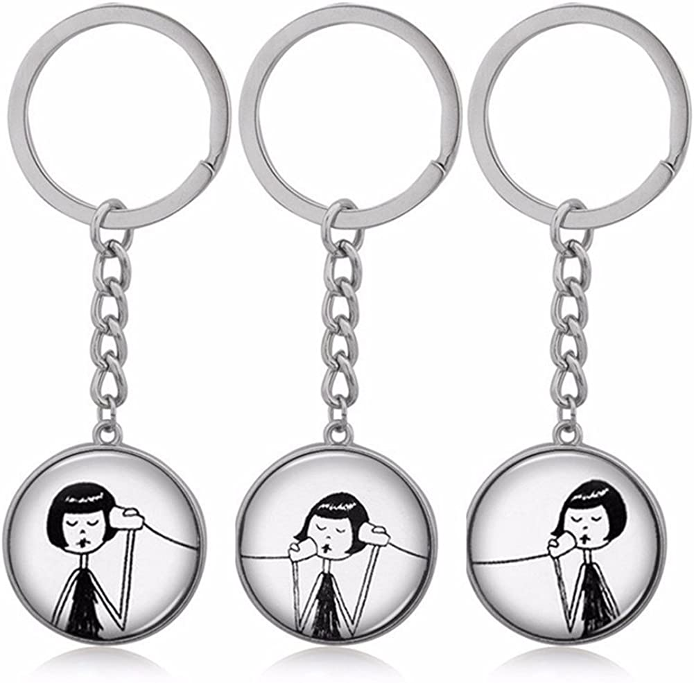 7Morning Vintage Call Phone Girl 3PCS/Set Keychain BFF's Necklaces Keychain