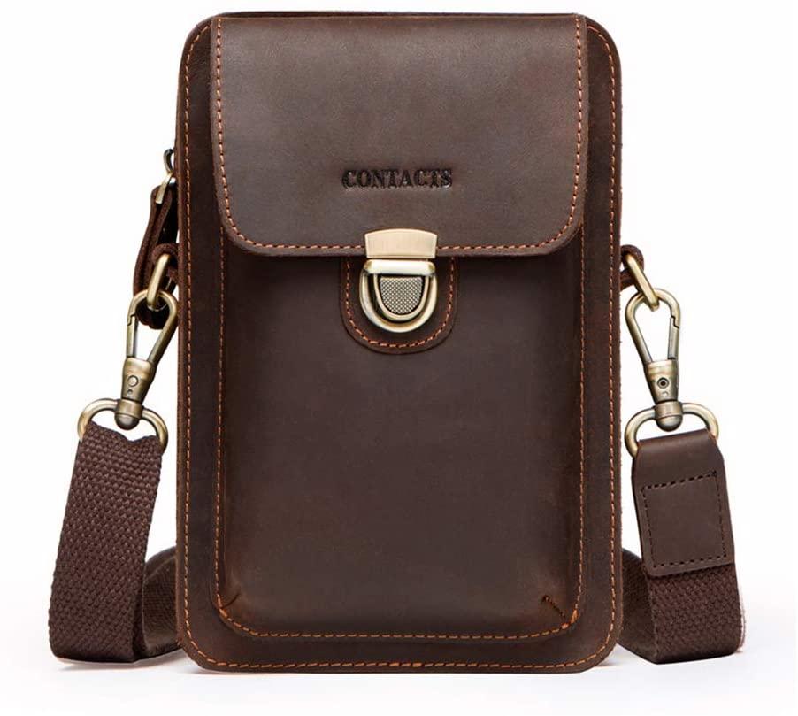Yehyep Leather Waist Bag, Large Travel Money Pouch Waist Bum Bag Vertical Genuine Leather Belt BagA Djustable Genuine Leather Unisex