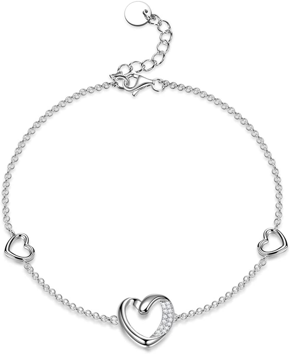 ANGEL NINA Mothers Day Bracelet Gifts Heart and Soul 925 Sterling Silver Women Girls Bracelet 3A Cubic Zircon Crystals Hypoallergenic Presents for Her