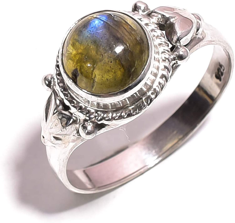 Mughal gems & jewellery 925 Sterling Silver Ring Natural Labradorite Gemstone Fine Jewelry Ring for Women & Girls Size 7.75 U.S (ZR-775