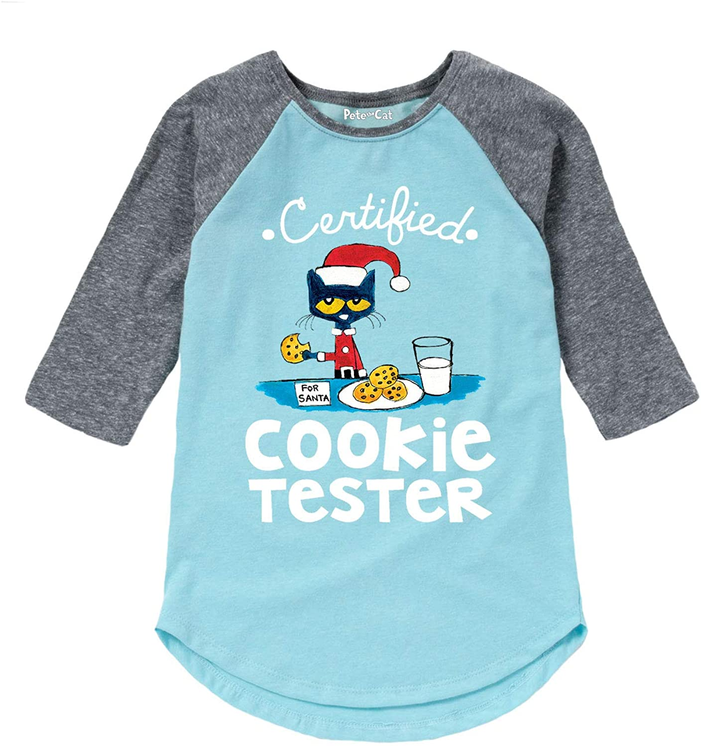 Pete The Cat Certified Cookie Tester - Youth Girl Shirt Tail Raglan