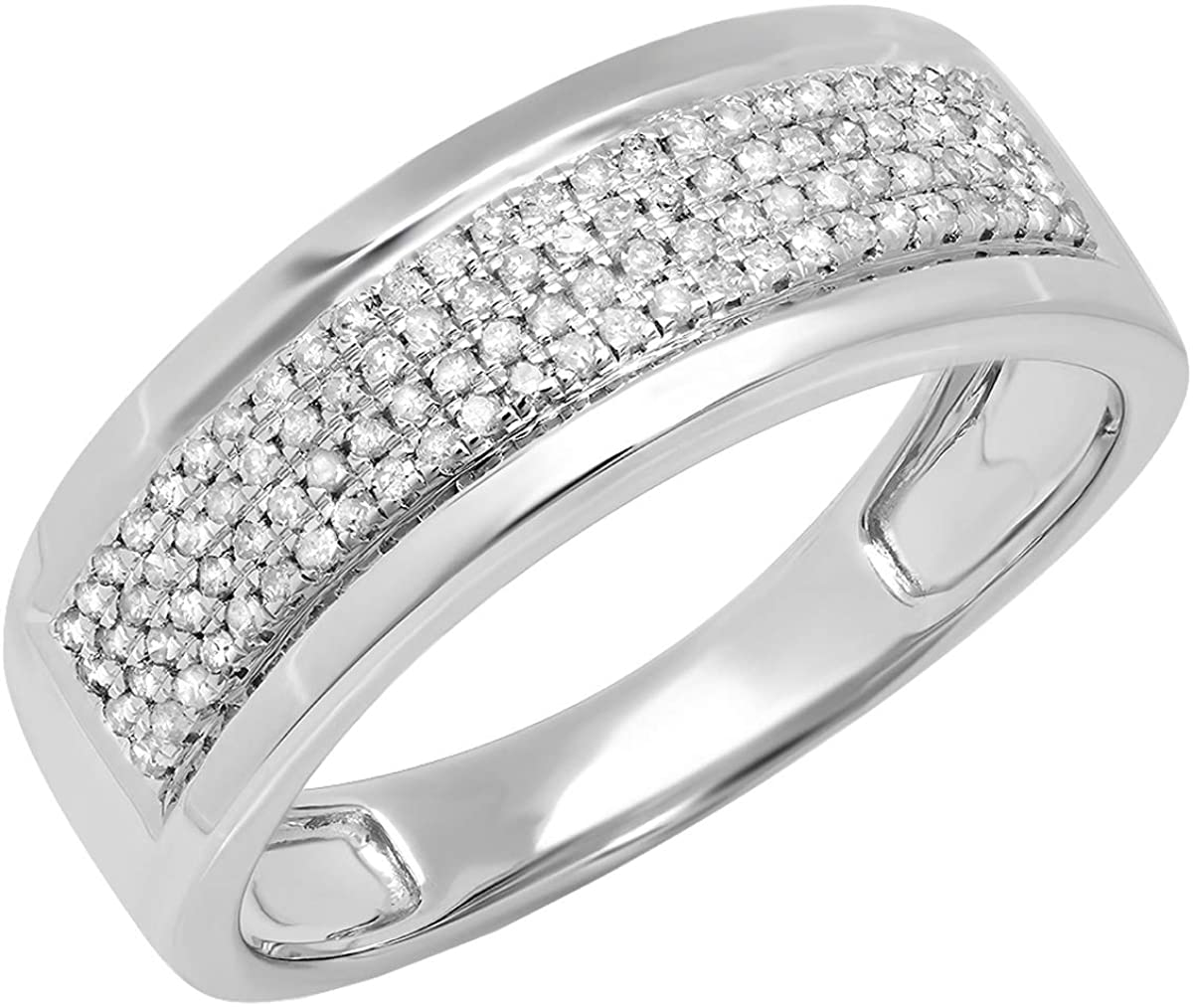Dazzlingrock Collection 0.40 Carat (ctw) Round Lab Grown Diamond Mens Flashy Wedding Ring, Sterling Silver