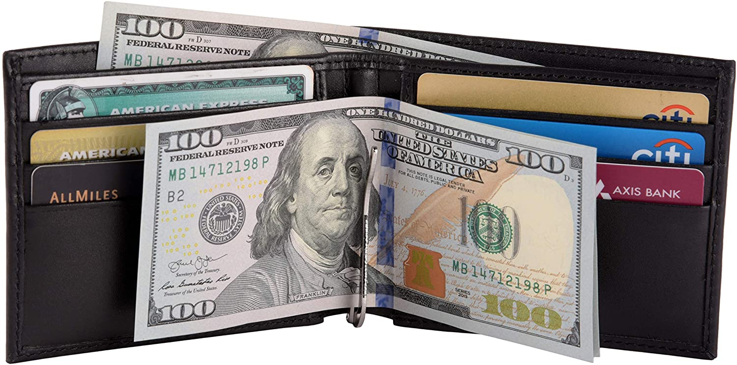 Men's Classic Bifold RFID Blocking Wallet with money clip and 6 card slots