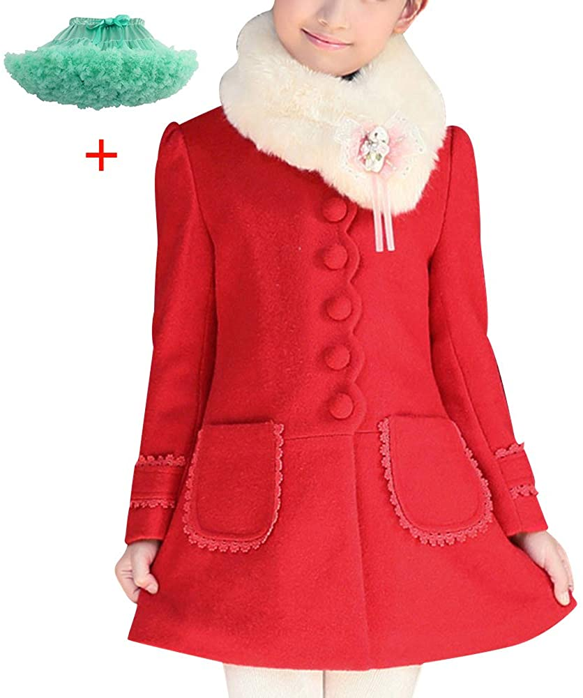 L SERVER Girls Elegant Faux Fur Woolen Collar Fashion Warm Blended Winter Coat Lace Flower Princess Bowknot Jacket