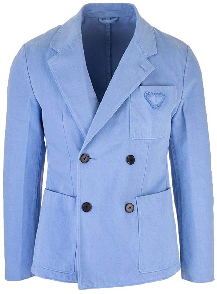 Prada Luxury Fashion Man UGS106S2011V3FF0APY Light Blue Cotton Blazer | Spring Summer 20