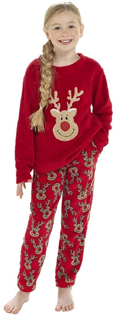 Childrens/Girls Novelty Reindeer Fleece Christmas Pyjama Set