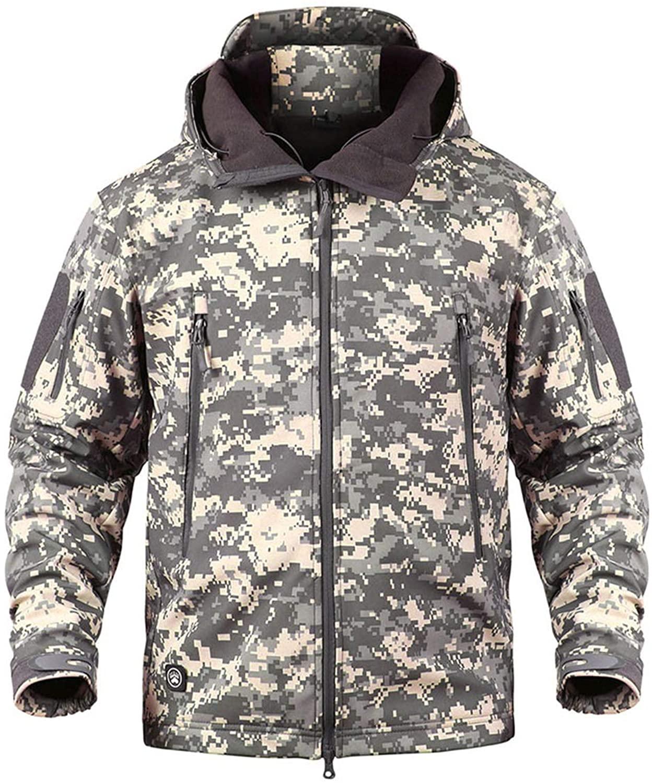 Springsss Men Camouflage Military Jacket Softshell Windbreaker Hooded Coat HuntWaterproof Army Tactical Jacket