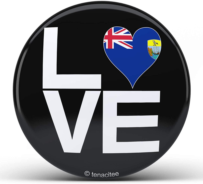 Tenacitee Love Block Saint Helena Heart Pinback Button
