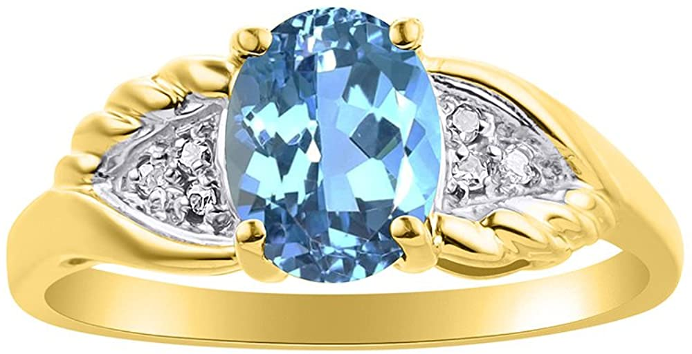 Diamond & Blue Topaz Ring Set In 14K Yellow Gold Diamond Wings Design