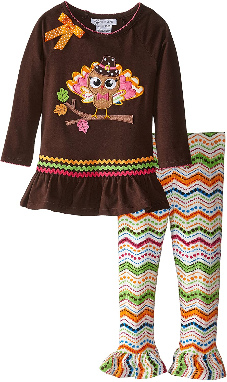 Bonnie Jean Girls' Pilgrim Turkey Appliqued Playwear Set