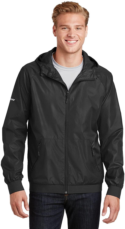 Sport-Tek Mens Embossed Hooded Wind Jacket (JST53) -Black/BLAC -S