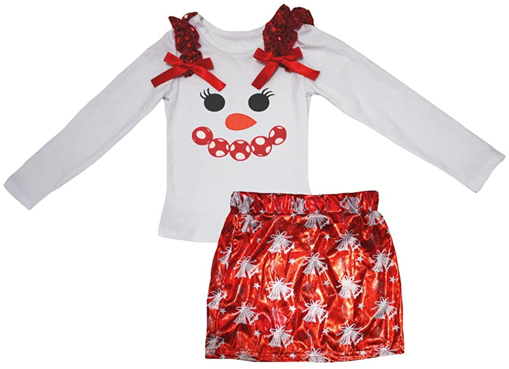 Petitebella Snowman Face White Cotton L/s Shirt Bell Bling Red Skirt Set 1-8y