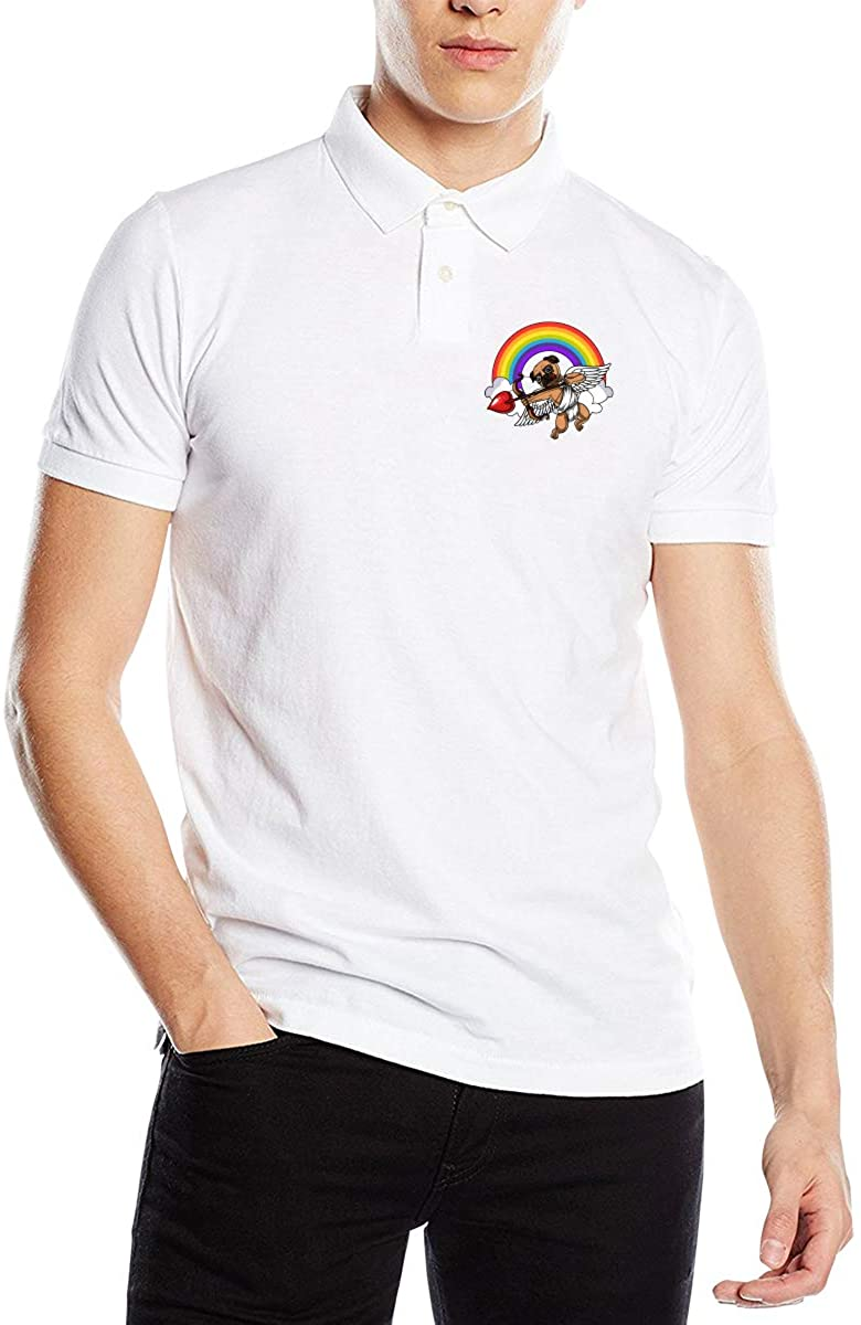 Fxd Pug Dog Valentines Day Cupid Men's Classic Polo Shirt Short Sleeve Golf Polo
