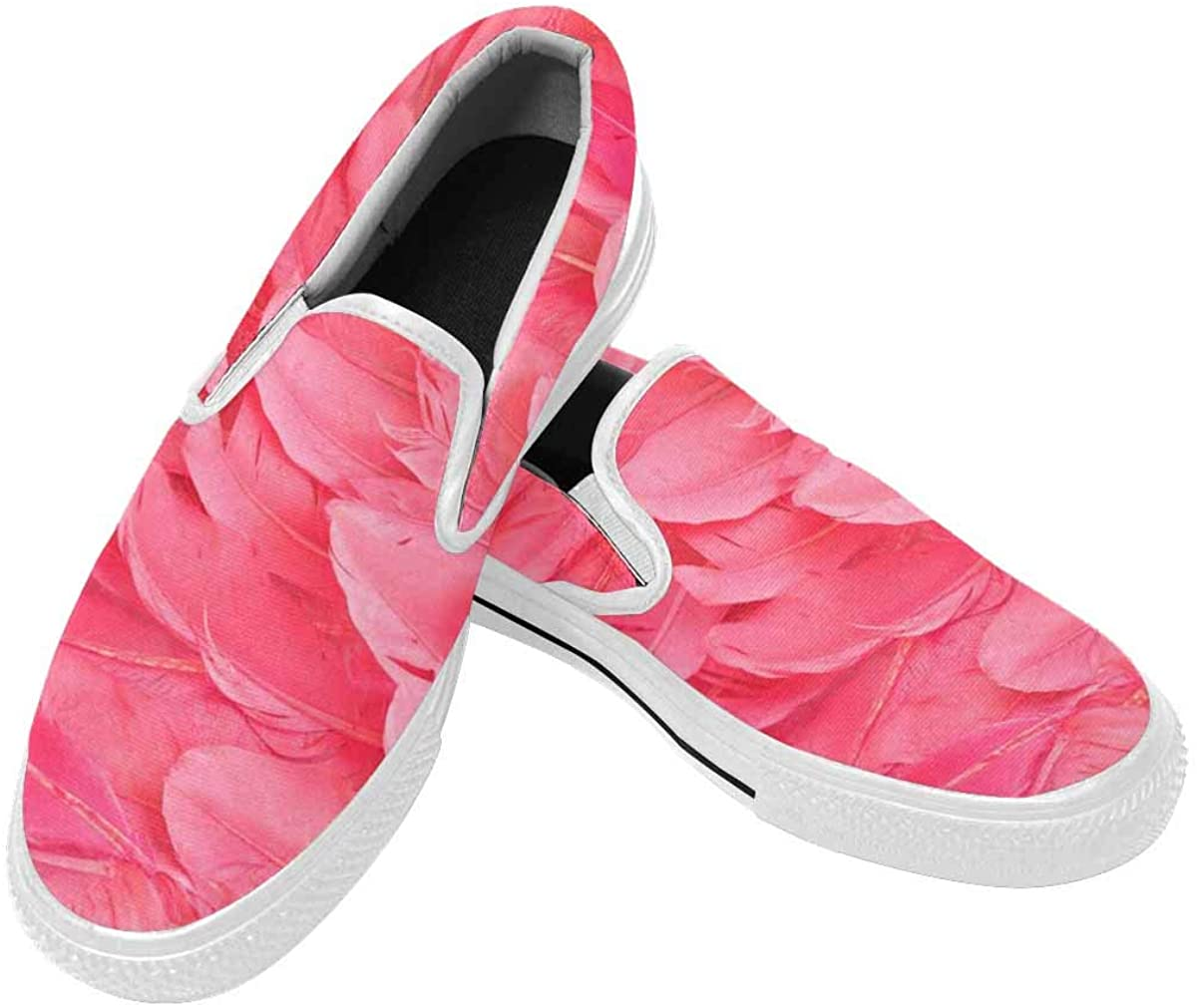 InterestPrint Mens Slip-On Canvas Shoes Casual Comfort Lightweight Loafers Flat Outdoor Sneakers Pink Flamingo Feather
