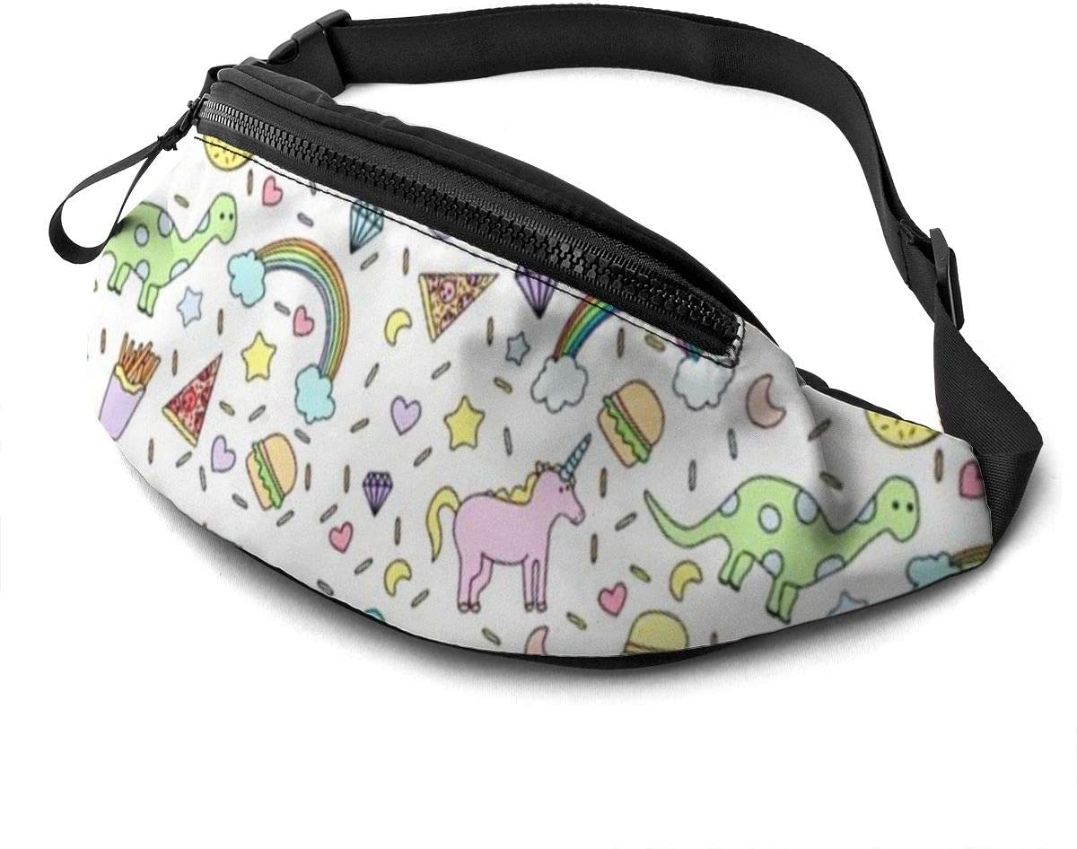 Colorful Unicorn Rainbow Fanny Pack For Men Women Waist Pack Bag With Headphone Jack And Zipper Pockets Adjustable Straps