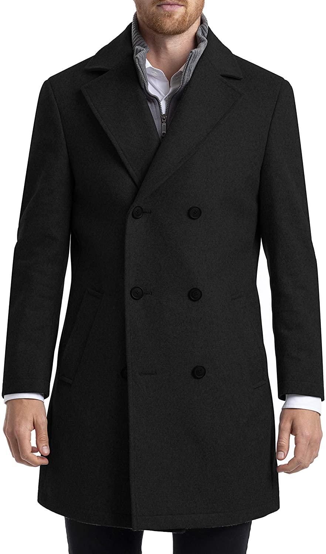 Chaps Men's Long Classic Double-Breasted Coat, Black, 46L