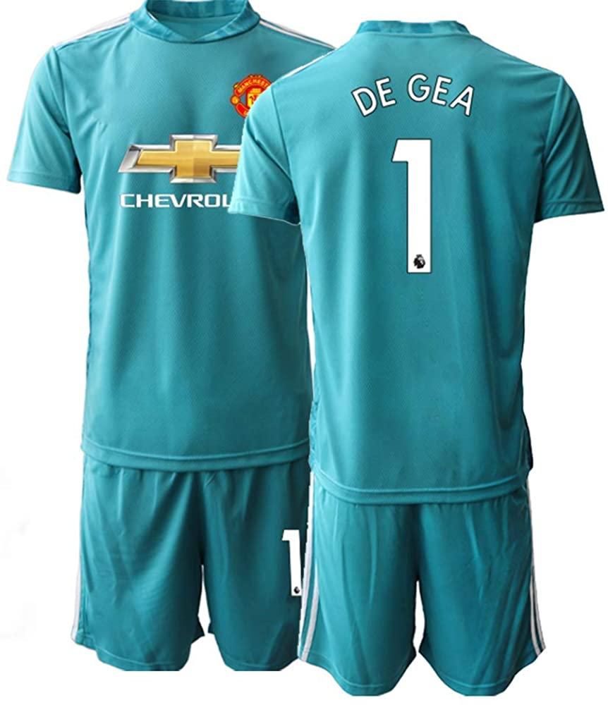 WEIFENG Kids 20/21 DEGEA 1# Soccer Jersey T-Shirt and Sports Shorts Suit -Blue