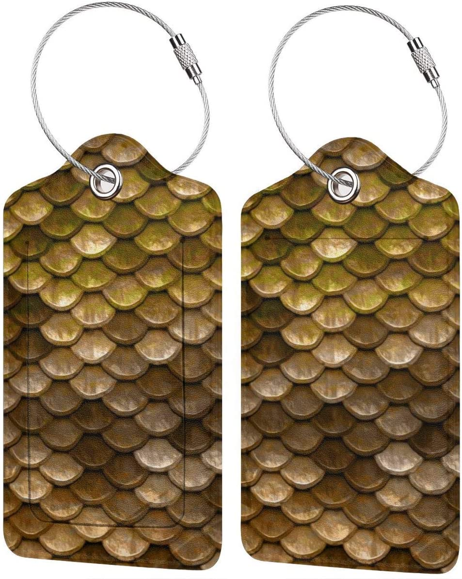 Tengyiyi Luggage Tags Golden Mermaid Scales Bag PU Leather Suitcase Labels Design Travel With Back Privacy Cover W/Steel Loops
