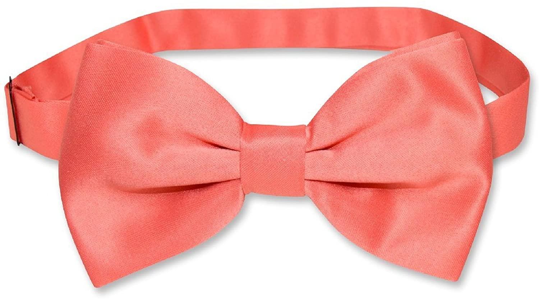 Vesuvio Napoli Mens Solid Formal Tuxedo Pre-Tied Bow Tie (Coral Pink)