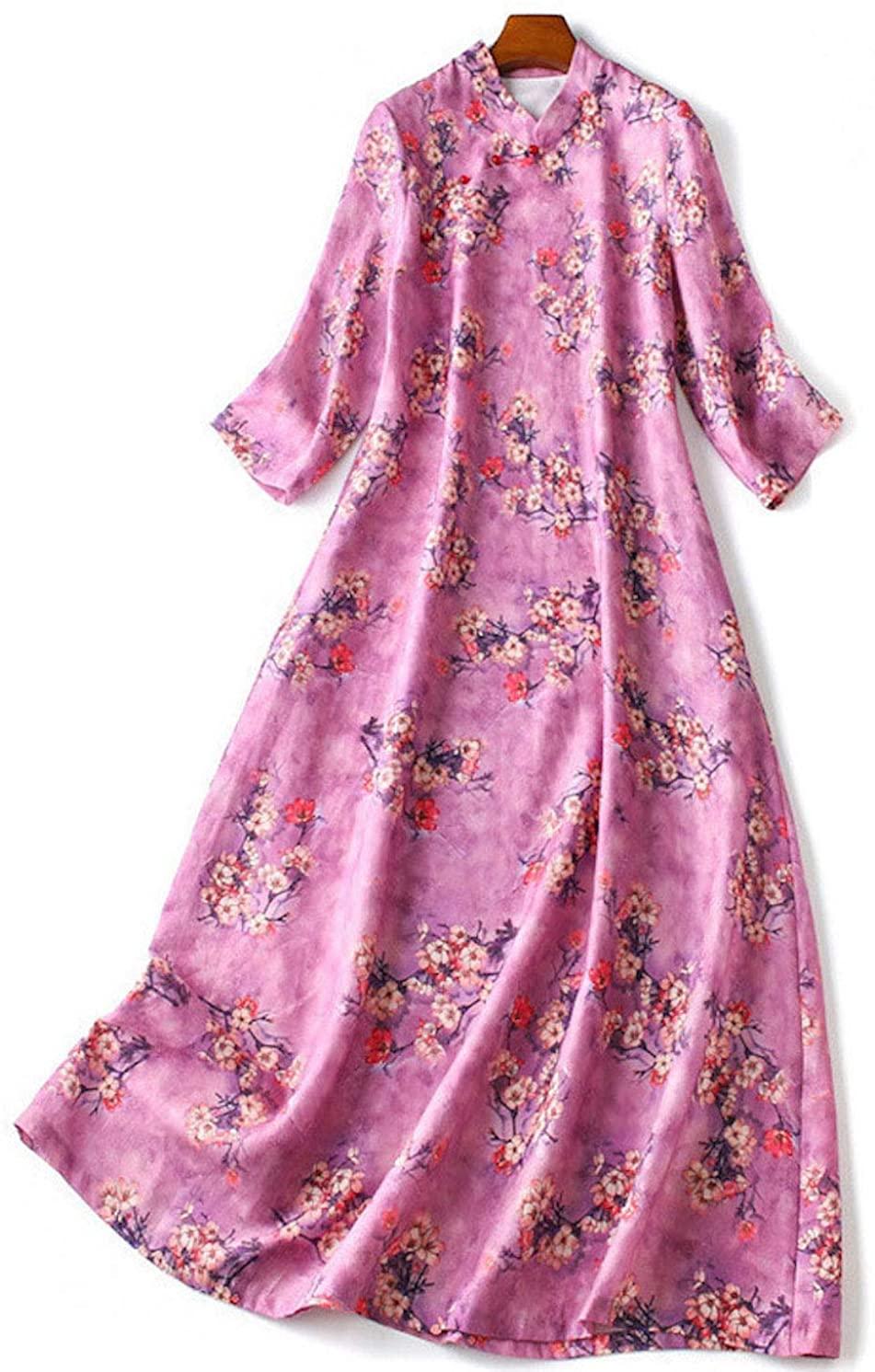 HangErFeng Dress Ramie Printed Modified Cheongsam Slim Chinese Style Elegant Romantic A-Line Skirt