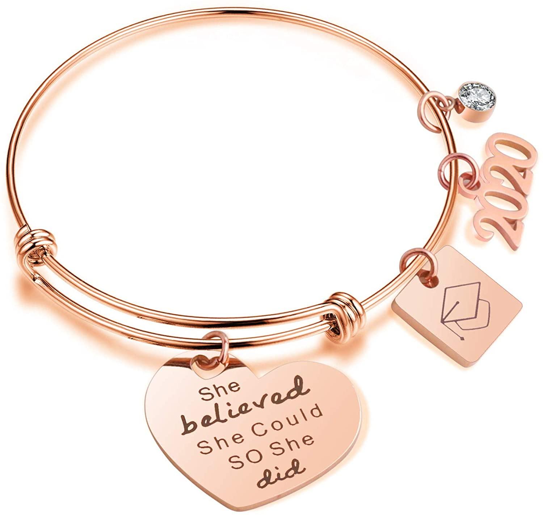 MollyQueen 2020 Graduation Gifts Charm Bracelet Adjustable Bangle Graduation Gift for Women Girls Friends