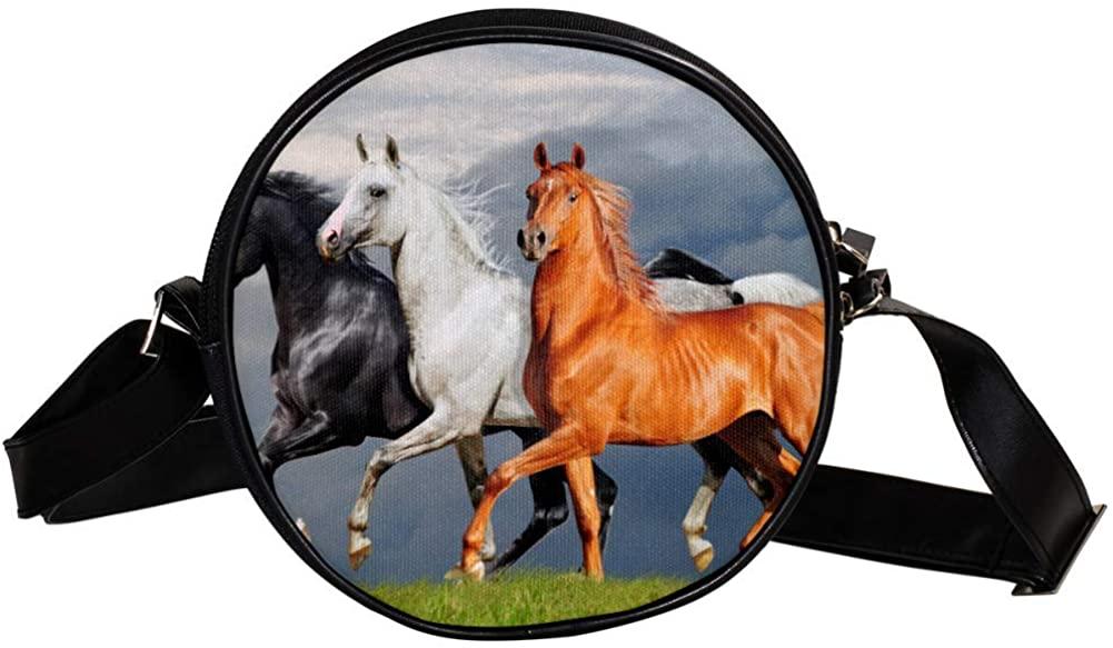 Coin Purse For Kids White Black Horse Mini Crossbody Bag Girls Wallet