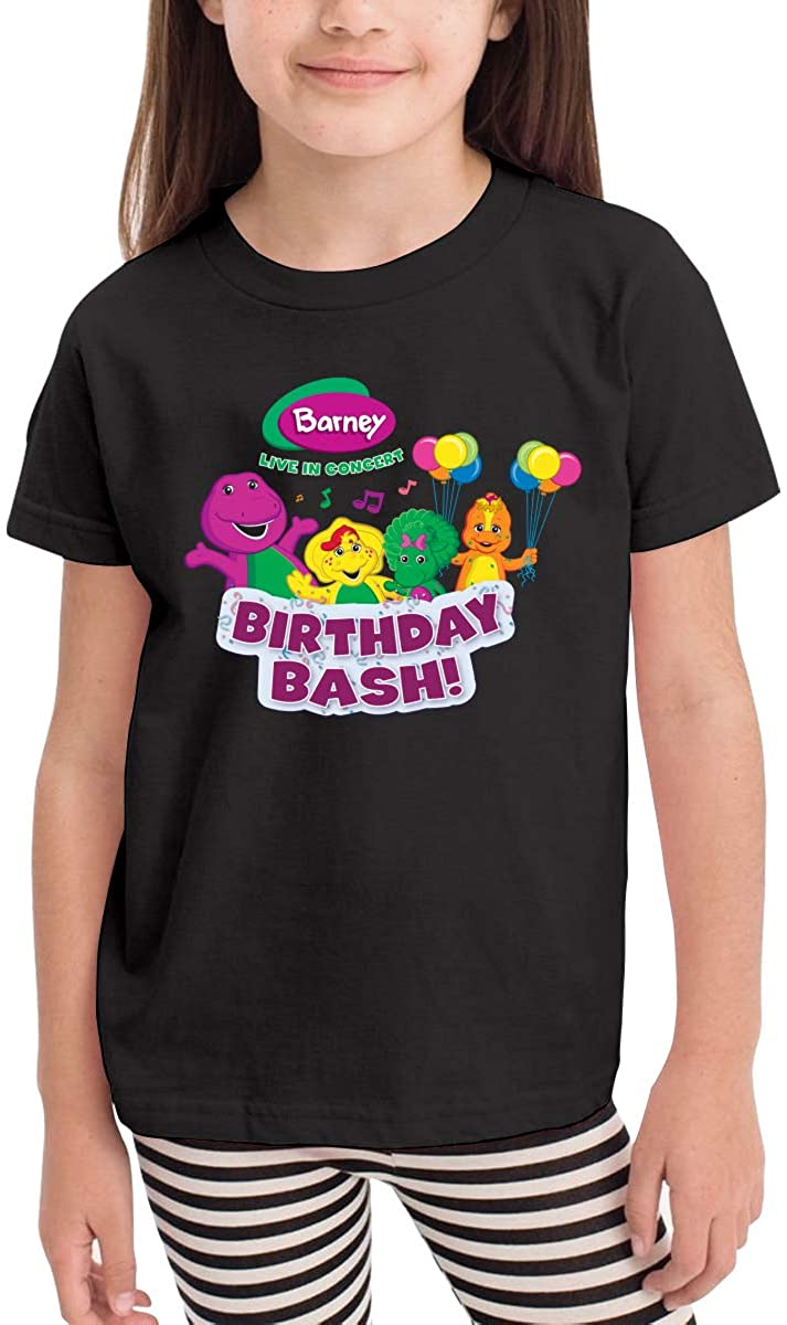 Barney and Friends Kids' Tee Shirt Classic Cute Cotton T-Shirts for 2-6 Years Old Black