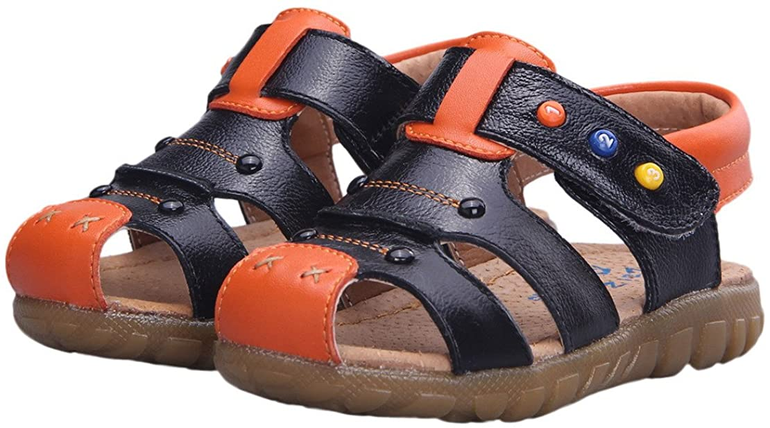 Happy Cherry Unisex Baby Toddler 100% Leather Anti-Slip Closed Toe Oxford Sole Outdoor Sandal Shoes Brown