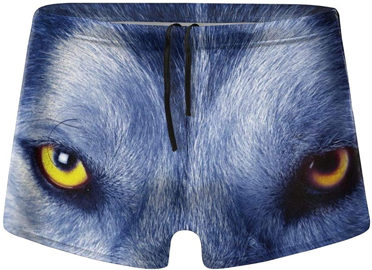 LTtie Men's Swim Trunks Wolf Staring Eyes Quick Dry Boxer Trunks Elastic Waist Bikini Briefs