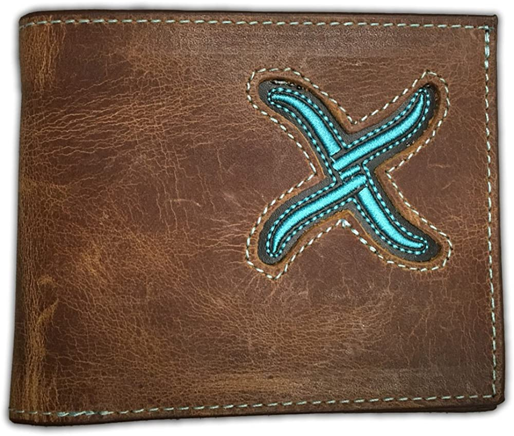 Twisted X Distressed Brown Bifold Wallet, Small