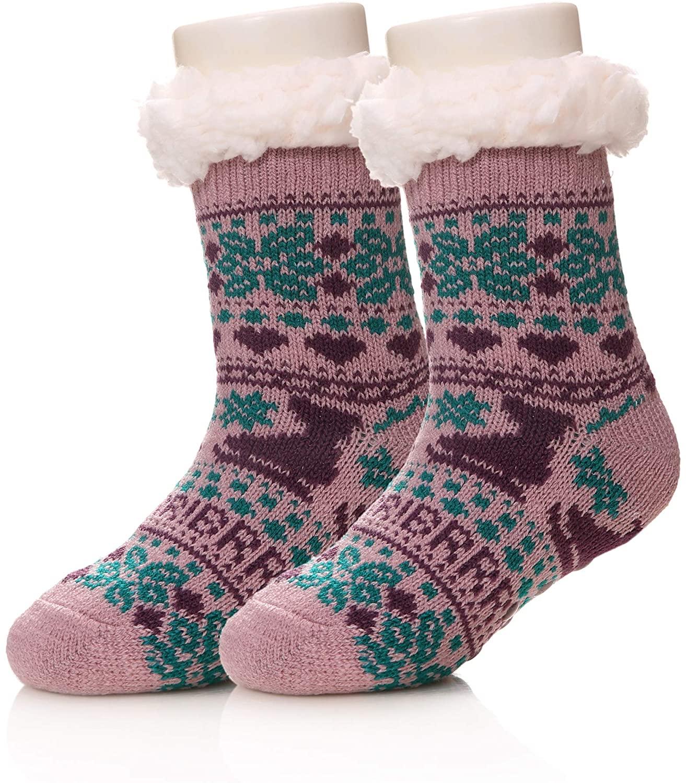 Kids Boy Girls Soft Warm Winter Socks Knit Anti-Slip Fuzzy Children Home Slipper Socks