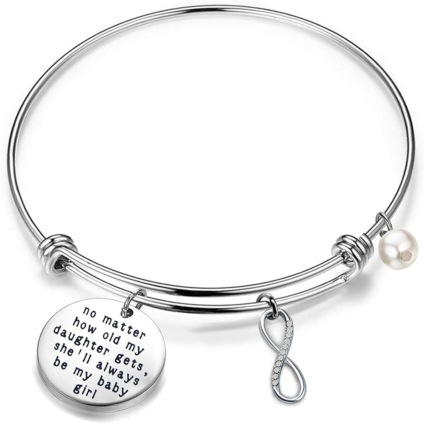 LQRI Daughter Bracelet Bride to Be Gift No Matter How Old My Daughter Gets She'll Always Be My Baby Girl Bracelet Wedding Gift from Daddy Mommy