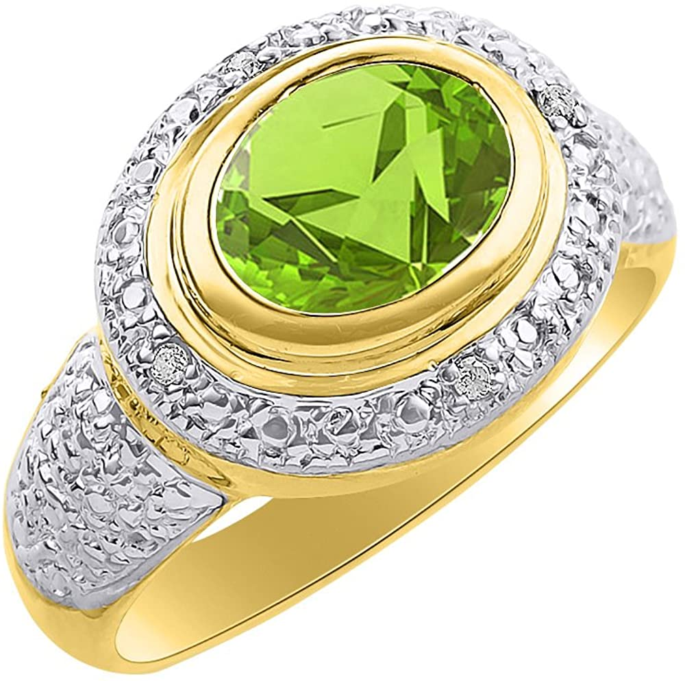 Diamond & Peridot Ring Set In 14K Yellow Gold - Diamond Halo - Color Stone Birthstone Ring