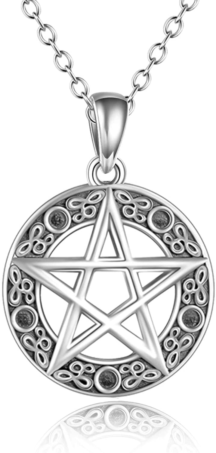 YFN Pentacle Necklace Sterling Silver Pentagram Pentacle Pendant Necklace Wiccan Jewelry for Women Men