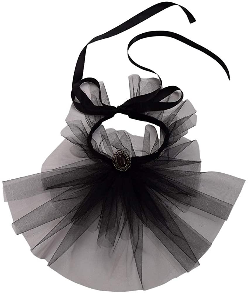 BLESSUME Vintage Victorian Mesh Gauze Lace Up Detachable Collar Black Costume Opera Jabot