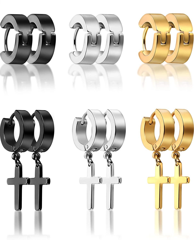 6 Pairs of Cross Earrings Dangle Hinged Earrings Stainless Steel Cross Hoop Earrings and Stud Earrings for Men and Women Wearing