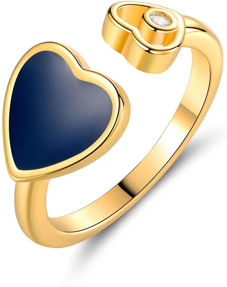 Barzel 18K Gold Plated Created Crystal & Enamel Heart Open Ring