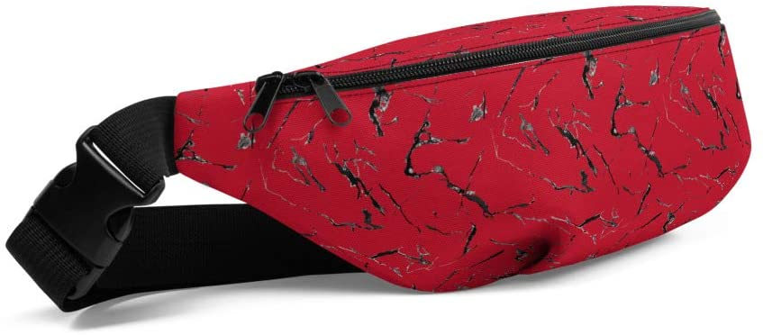 Lolamart Red Marble Print Travel Belt Bag Sports Fanny Pack
