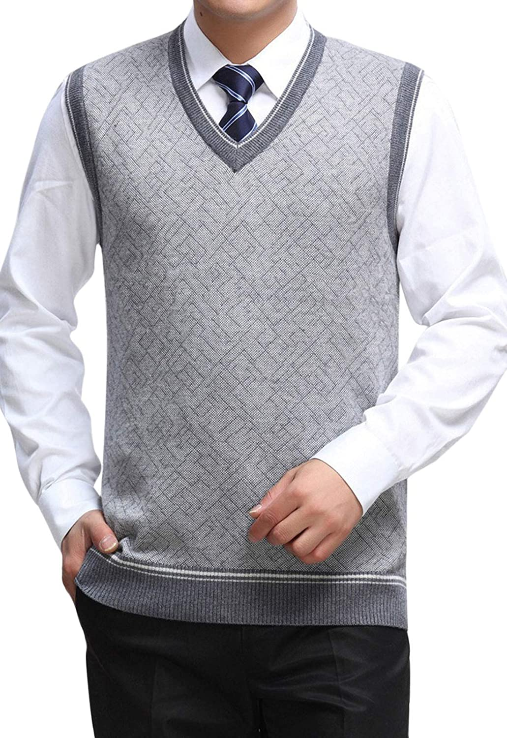 Z&A Mens Cashmere Wool Blend V Neck Sweater Vest with Ribbing Edge